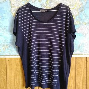 Vince 100% Linen Navy White Striped Top S